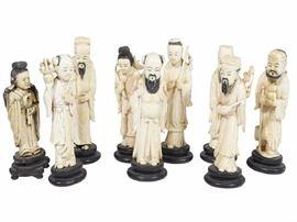 12Set of Eight 8 Antique Chinese Bone Figurines