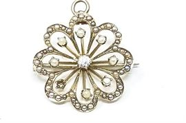 14 Karat Diamond, Pearl and Gold PinPendant