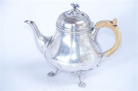 Antique Silver Metal Teapot