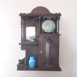 Antique Victorian Ball & Stick Asian Wall Cabinet with locked beveled glass front case.  This is a fabulous piece.