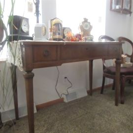 Vintage Side Table with Center and Two Side Drawers