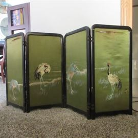 Another antique smaller 4 screen panel - this one is embroidered silk with cranes.  Wood frame.