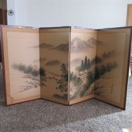 Antique four panel large hand painted folding screen from China! Brass hinges.   (A two inch area of damage on the paper)