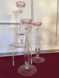 Set of 3 Steuben Candlesticks