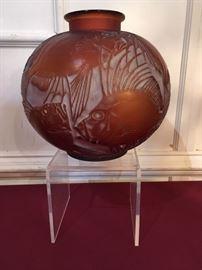 """Lalique """"Poissons"""" vase"""