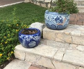 Blue and white Asian planters.