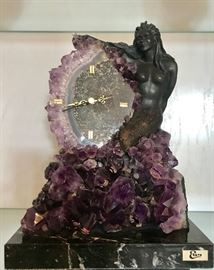 Amethyst and bronze clock by Ebano. Gorgeous.