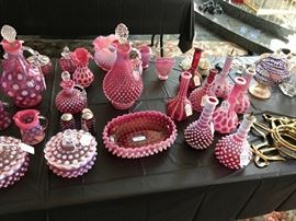 Cranberry glass and Barber Bottles, Hobnail and Coindot