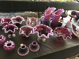 Fenton Plum Hobnail, including Fairy lamp