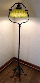 Tiffany Harp floor Lamp Base with a Damascene Shade -