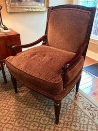 "22. Carved Wood Framed Accent Chair with Faux Animal Print Upholstery (32"" x 28"" x 40"")"