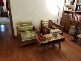Mid century chairs and table