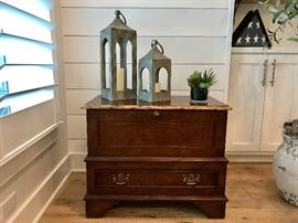 Custom made night stand drawer and trunk. Purchased at $1,000 each. Estate sale price: $250 each. (2 available) ...... More pictures of details available at the end of the gallery.