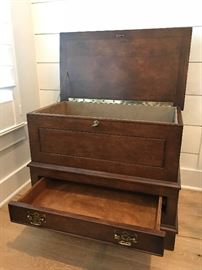 Custom made night stand drawer and trunk. Purchased at $1,000 each. Estate sale price: $250 each. (2 available)