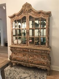 """Custom made china cabinet by Cal Mode. Lights up on the inside. Large doors. 62"""" (W) x 17"""" (D) x 93"""" (H). Originally purchased for $5,000. Estate sale price: $1,000. ................. more pictures available at the end of the gallery."""