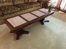 Vintage wood w/marble inserts Hollywood Regency coffee table