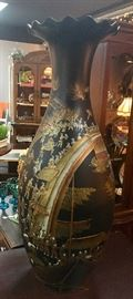 "Large, scalloped top, 4 foot tall black oriental ceramic hand-painted vase that ""tells a story"" with it's raised motif design"