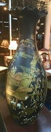 A different side view of the 4' tall black oriental vase