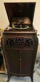 Antique Sonora Phonograph with carved front & sides