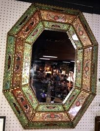 Large 4 foot reverse-hand-painted-glass-8-sided BEAUTIFUL Mirror!