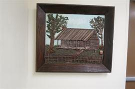 Handmade one-of-a-kind Louisiana log cabin portrait.