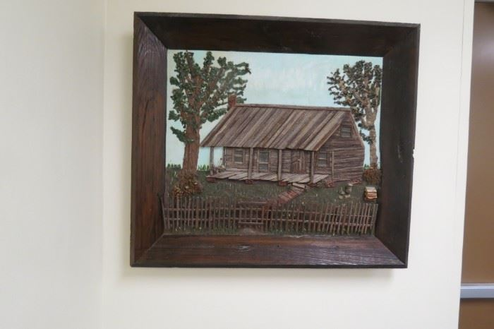 Handmade one-of-a-kind Louisiana log cabin portrait.