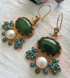 Breath-taking Victorian Jade Cabochon, Genuine Pearl and Turquoise Earrings