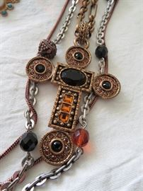 Beautiful Multi-Strand Necklace with Cross Pendant and Glass Stones