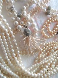 Tons of Pearl Necklaces - All Lengths, Multi-Strand and Designer