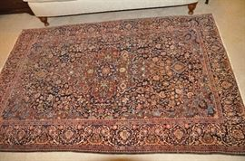 "Fabulous hand knotted 100% wool ANTIQUE Kashan Persian Area Rug, 4'5"" x 6'6"" Navy field and border"
