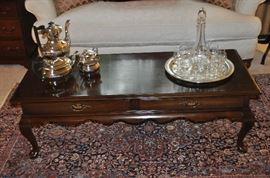 "Ethan Allen Georgian Court 2 drawer cherry coffee table, 50""w x 16.5""h x 21""d"