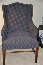"Navy base with cream and light red dot upholstery chair, 25""w x 39""h x 28""d"