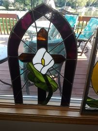 Lily stained glass 14 and three quarter inch wide and 23 and 1/4 inches high