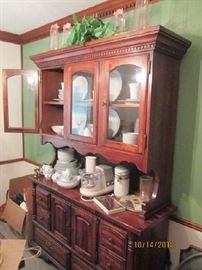 Pine china hutch
