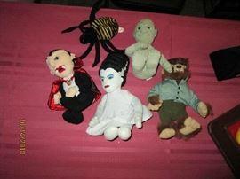 Small stuffed Halloween characters