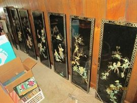 7 Asian panels with carved MOP and jade.