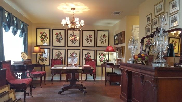 Set of 10 framed Antique Camelia Prints, Set of 4 Upholstered Dining Chairs, Mahogany drop leaf center table