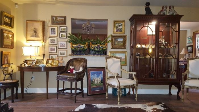 Chippendale Style Display Case, Pr. of French Chairs,