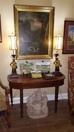 Antique Painting w/Gilt Frame, Pr. of Polychromed Lamps, Mahogany Table