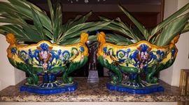 Large Pair of Majolica Urns-Vases