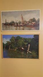 "Jacques Soulas - ""Bisso Tugboat Company"", New Orleans     Jacques Soulas - ""Wooden Barge"" (36X24)"