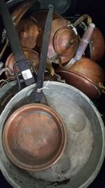 Lots of Copper Pots, Pans and Kettles
