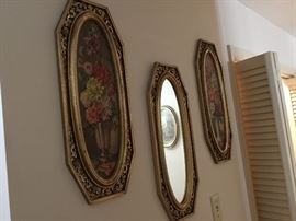 Another vintage decor group - 2 pictures & mirror