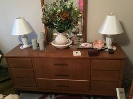 Mid Century Modern dresser and mirror; lamps and more