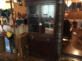 Full view of the china cabinet; wooden TV Tray set - lots of chicken decor
