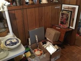 Vintage school desk, pictures, storage items, paper products and lots more