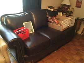 Nailhead leather sofa