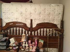 Headboard, frame, queen mattress and box spring