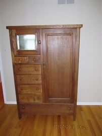 Tiger Oak  Antique Dressing Cabinet, Exquisite