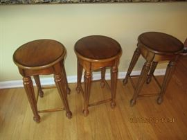 Antique Oak Wood Stools, note the detailing.